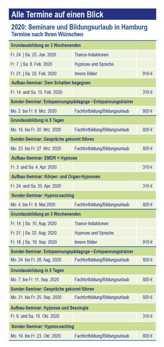Hypnose-Akademie: Alle Termine 2020